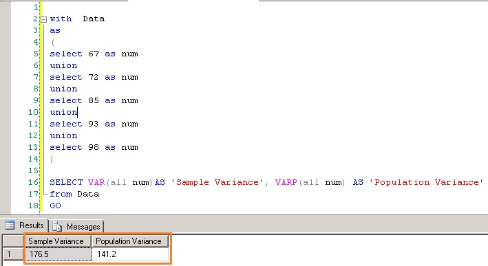Statistical Variance Functions Var And Varp  Sql Server  Sql