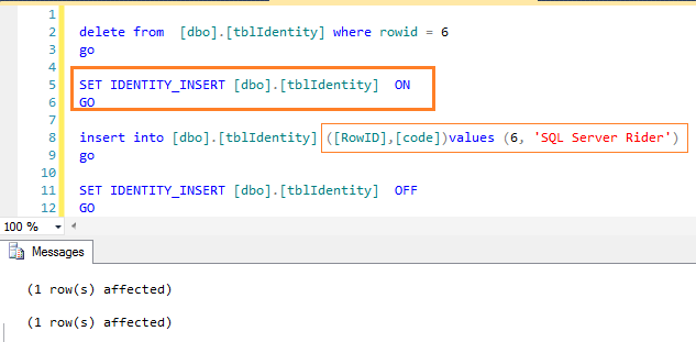 Now I have inserted a row with value to an identity column. But using this statement we can also insert duplicate identity value to a table.  sc 1 st  SQL Server Rider - WordPress.com & Insert value to an Identity column \u2013 SET IDENTITY_INSERT \u2013 SQL ...