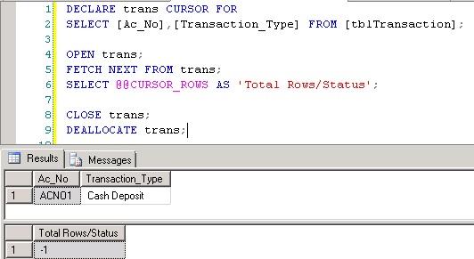 SQL SERVER – Cursor System Functions @@CURSOR_ROWS | SQL Server Rider