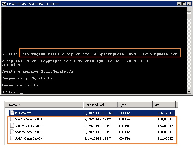Split a file into multiple files using 7-zip utility | SQL